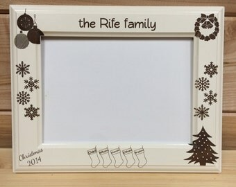 Family Christmas Picture Frame, 4x6 &  5x7, Laser Engraved, Personalized