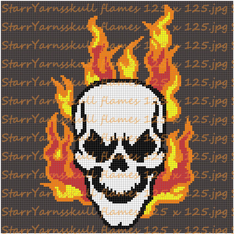 Flame Skull Crochet Graph Pattern ��zoom