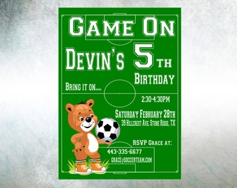 Soccer Birthday Invitation Personalized Invite Printable Soccer Invitation Soccer Party