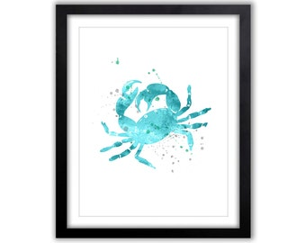 Watercolor Crab Print, Nautical Art, Watercolor Painting, Crab Silhouette, Beach House Art, Nursery Art, NA033