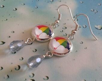 Rainy Day  umbrella & water drop earrings - fun kitsch cute