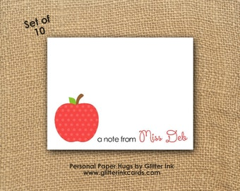 Set of 10 - Blank Note Cards - Apple Note Cards - Teacher Note Cards - Stationery for teachers - Polka Dot Apple - Thank You cards