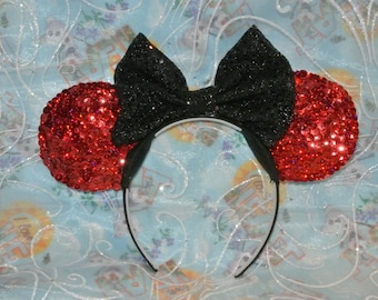 Beautiful red sequin Mickey ears