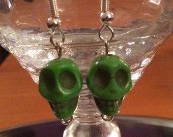 Green Howlite Skull Earrings