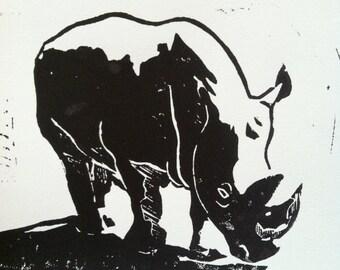 Rhino Linoblock Print 5x7