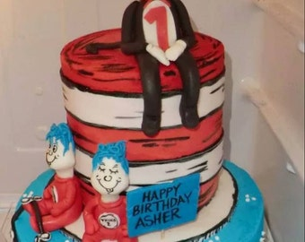 Handmade Fondant Cat in the Hat Thing  1 and 2 Cake Topper Set