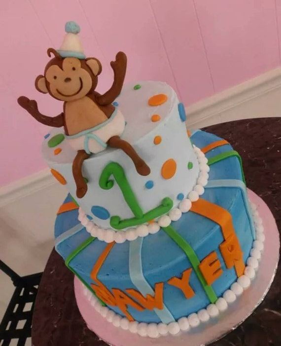 Items similar to Handmade Edible Fondant Monkey Cake ...