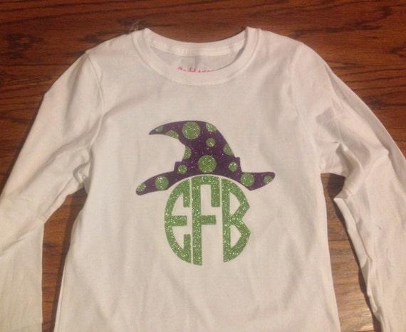 Witch Hat Glitter Monogram Shirt