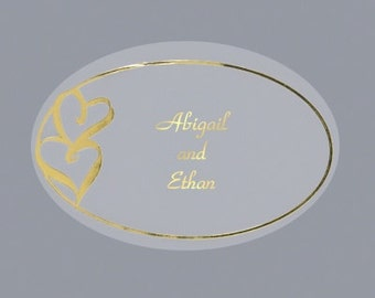Personalized Double Heart Gold Wedding Invitation Envelope Seals (Pack of 100)