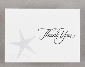Beach Theme Starfish Wedding Thank You Notes (Pack of 100)
