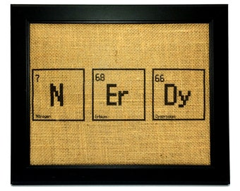 Burlap Nerdy Chemicals Chemistry Print
