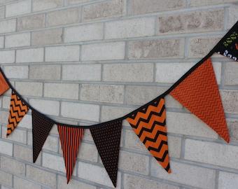 Halloween Print Bunting- Orange Chevron & Striped