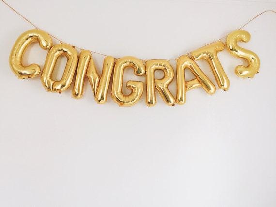 congrats balloons gold mylar foil letter balloon banner kit