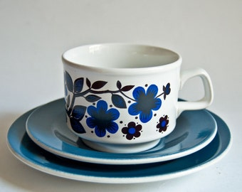 Retro Staffordshire Cup, Saucer, Plate Trio - Bold Blue Floral