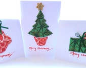 SALE* Christmas Tree, Stockings and Presents Set of 3 Textile Christmas Cards