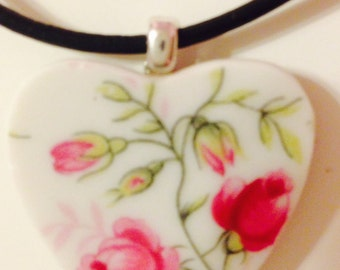 Broken China Jewelry,  Little Rose Necklace,   Free Shipping