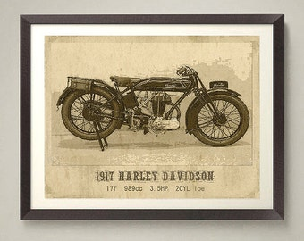 Vintage Harley art print, very old 1917 Harley Davidson motocycle. One of a set of 6 bikes. Nice home or office decor, great gift.