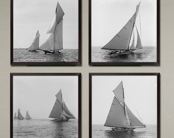 4 Set Vintage Sailboats Art Prints - classic Sloop Yachts in the late 1800's. A special buy 3 get 1 Free set of 4 racing vessels.