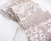 20 Small Envelopes, Wedding Envelopes, card stock insert option, burlap lace, Wedding Guestbook, Business Card, Anniversary Guestbook