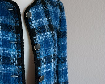 Vintage Bouclé-Tweed Blazer // Blue // S/M