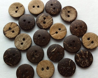 "20 Coconut Buttons 15mm Natural Coconut Shell Button 5/8 inch Round 5/8"" Brown Wood Button Wooden Embellishments Sewing Notions Craft Supply"