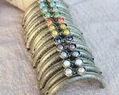 13 color 8.5cm choose Retro carving antique brass purse with colorful beads frame bag frame coin purse frame handmade supplies 1pcs