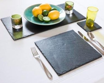 16 Piece Set of Natural Slate Square Place Mats and Coasters - Dinner Table Place Mats & Drinks Coasters