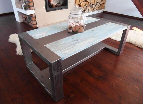 Handmade Rustic Reclaimed Wood & Steel Industrial Coffee Tab -> Table Basse Relevable Woods