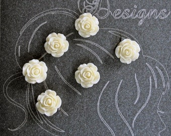 6 Beautiful Ivory Rose Hair Coil Twist Any Occasion, 14mm Wedding Party, Bride, Cheer, Proms or Any Special Event