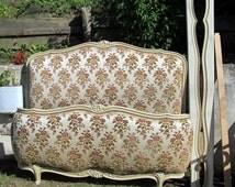 French Demi Corbeille antique style double bed,cream crackle paint amazing piece.Shipping worldwide available