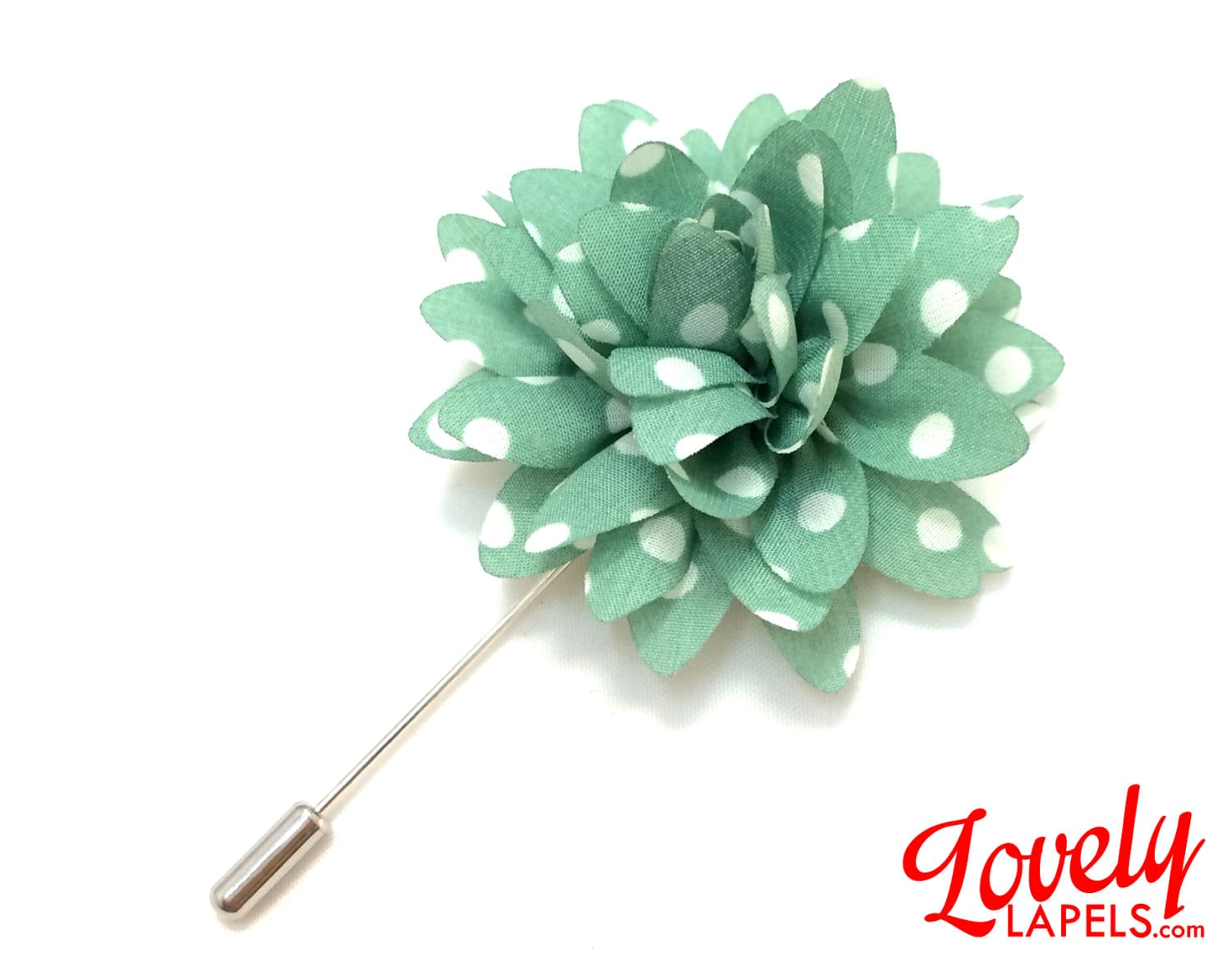 FLOWER LAPEL PIN Green with White Dots Dahlia by LovelyLapels