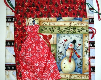 Reusable holiday fabric gift bags.