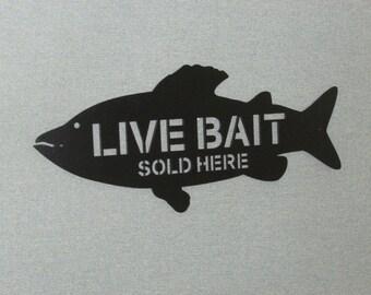 "Live Bait Fish Shape Vintage Style 24"" Wood Sign"
