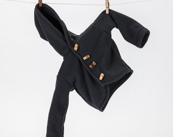 2T Gray Black Heavyweight Fleece Lined Boys Hoodie with Wooden Toggles