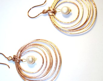 Ring earrings with gold plated silver hooks and pearls