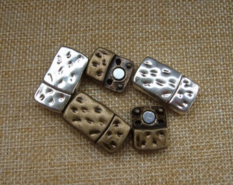 3 Sets Flat Magnet Clasp ,Hammered Strong Magnetic Clasp 10x2mm Antique Silver/Bronze for 5mm 10mm Flat Leather Bracelet clasp CK013
