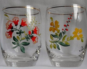 Vintage Collection of 6 Hand Painted Flowered Innsbruck  Tumblers In Original Boxes