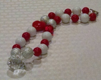 Silver White Red Necklace