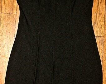 90s faux fur trimmed black mini dress