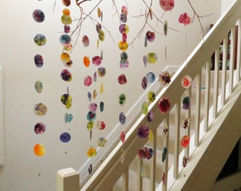 Colorful Hanging Mobile - Branch Mobile, Circle Mobile, Home Decor, Hanging Art, Nursery Mobile, Gifts