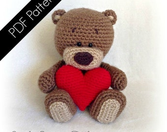 "Amigurumi ""Be My Valentine"" Bear -  PDF Written Pattern (digital item)"
