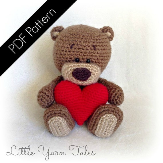 "Amigurumi ""Be My Valentine"" Bear -  PDF Written Pattern"