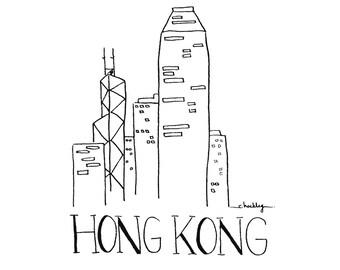 City Sketch - HONG KONG | Black and white Illustration | Wall Art | Ink Drawing | Hand drawn with Signature