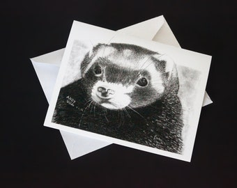 Ferret Note Card - Set of 3 or 6 with envelopes