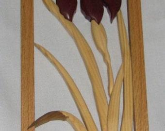 Purple Framed Iris Intarsia wood art
