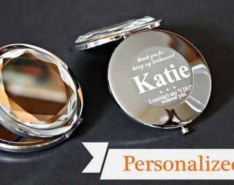 Set of 7 - Bridesmaid Gift - Personalized Compact Mirror - Engraved with Name