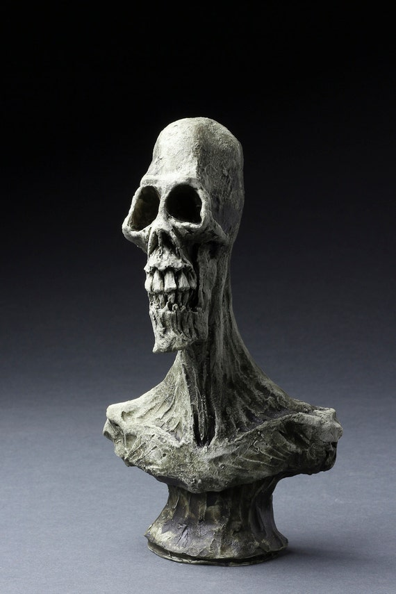 Tall Skull Ceramic Bust - Hand Sculpted - One of a Kind