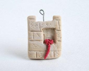 Jericho Wall Ornament -- Miniature Polymer Clay Jesse Tree Ornament -- Rahab's Scarlet Cord