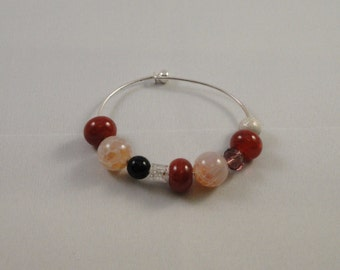 Fire Agate & Dragons Vein Bead Bangle