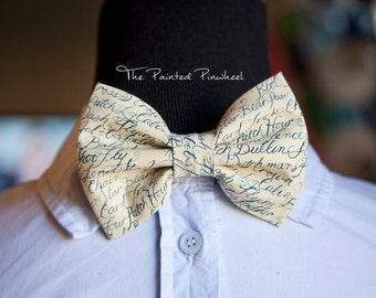 Handwritten Words on Tan Patterned Bow, Bow Tie, Pocket Square